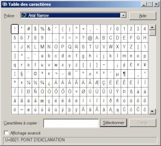 Les caractères spéciaux qui ne sont pas sur le clavier Tables10