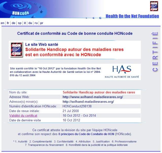 Nouvelle AFFICHE Solhand et Certification HONcode Honcod10