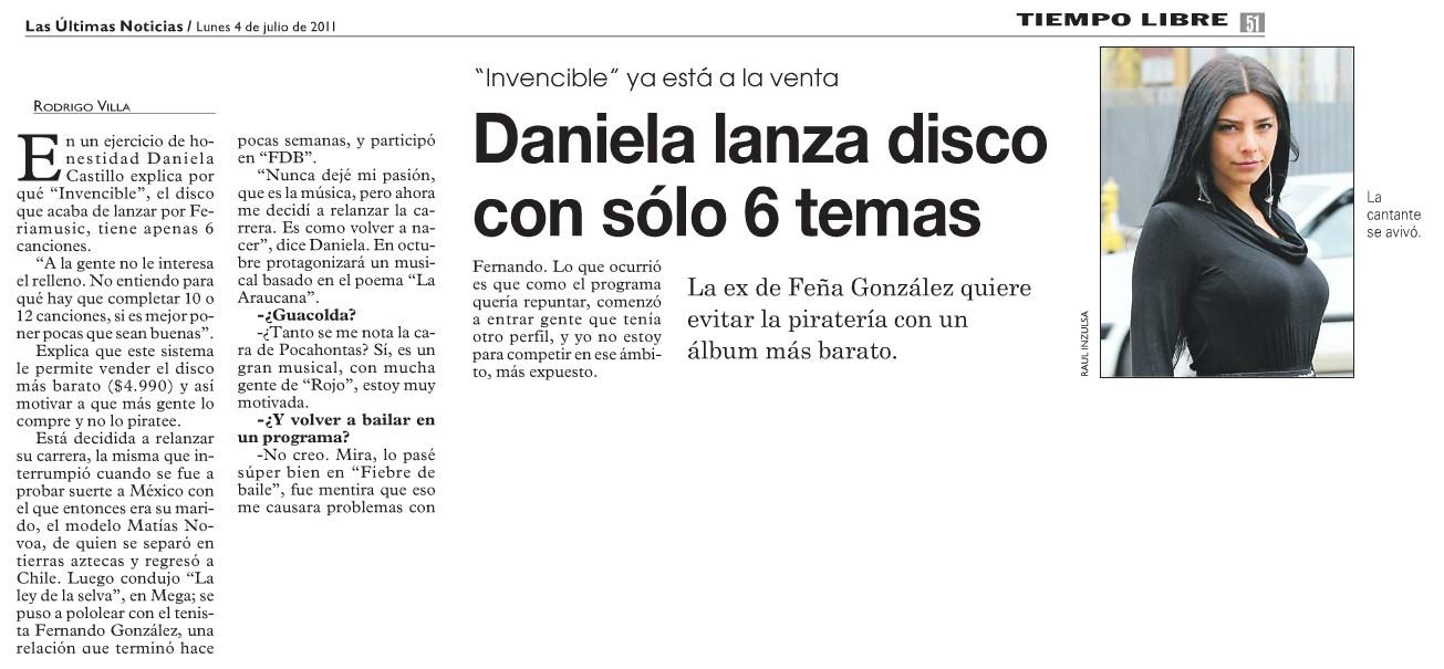 Daniela lanza disco con solo 6 temas (lun) Dclun10