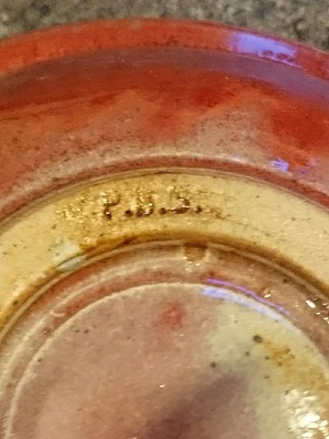 Flambé glazed bowl signed PBS mark - maybe Peter Smith, NZ  P_b_s_11