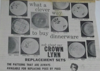 Crown Lynn replacement sets - which patterns were included?  Replac10
