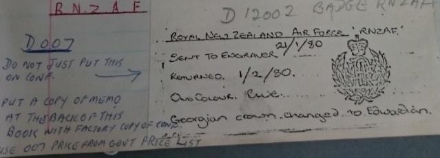 RNZAF crockery and when each pattern was produced Rnzaf10