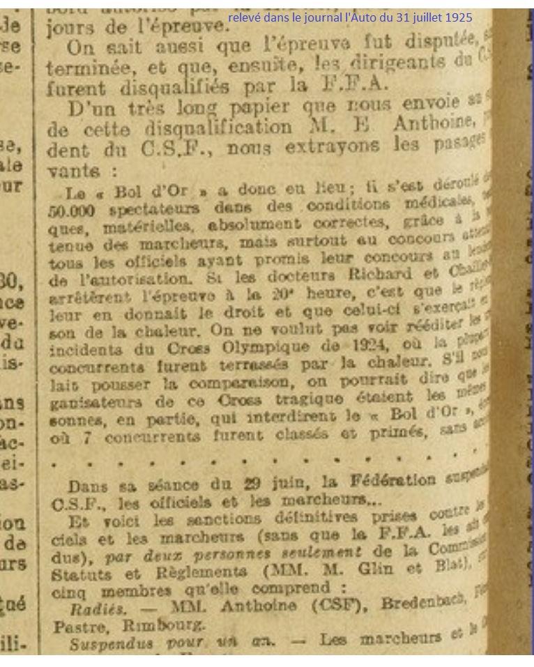 LE BOL D'OR DE LA MARCHE A MONTMARTRE  13 ET 14 JUIN 1925 1925_014