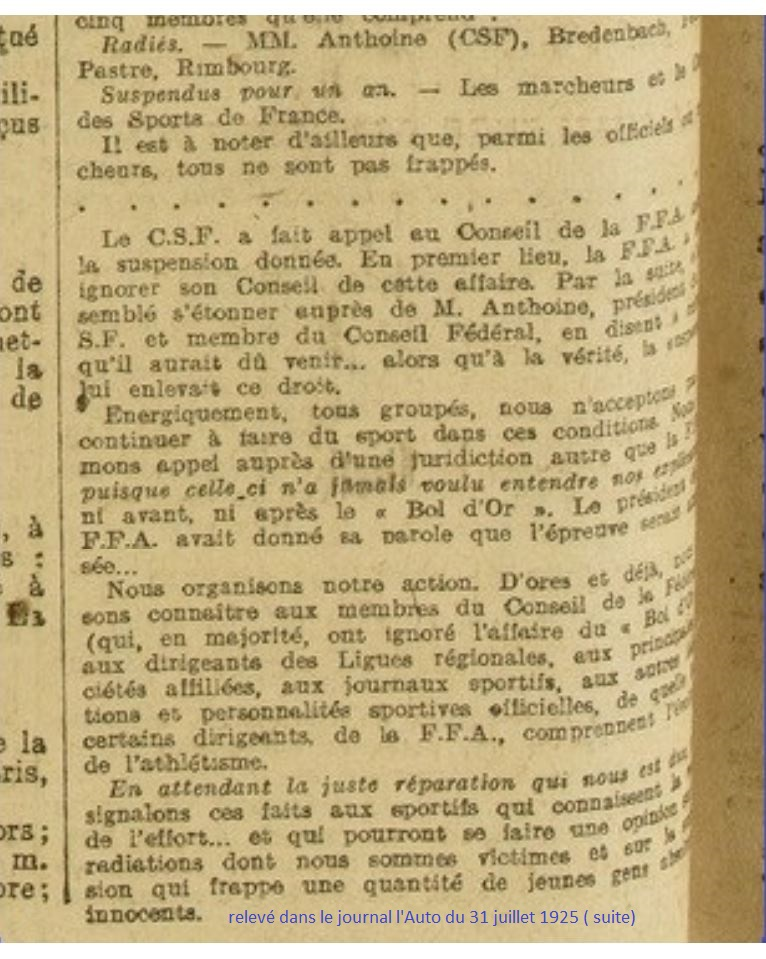 LE BOL D'OR DE LA MARCHE A MONTMARTRE  13 ET 14 JUIN 1925 1925_015