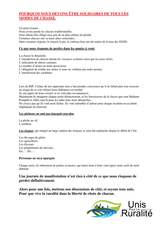 Manifestations pour la défense de la chasse - Page 2 Pourqu10