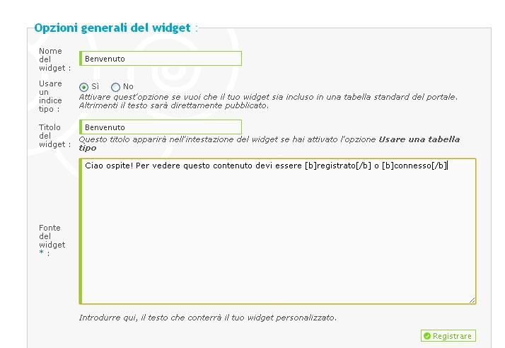 personalizzazione widget Aiuto110