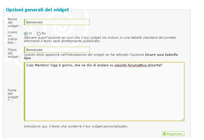 personalizzazione widget Aiuto210