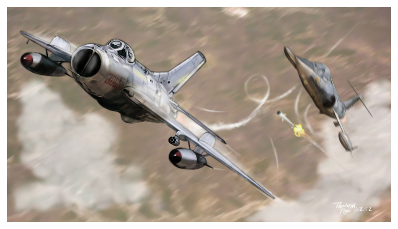 F-104 VS MIG-19 dogfight in year 1967 at Taiwan strait F104vs10