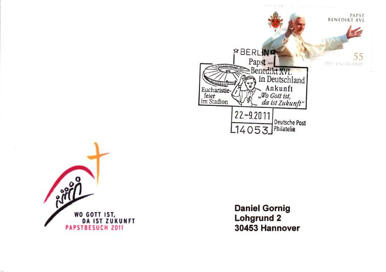 Sonderstempel und Sondermarke zum Papstbesuch Papst_10