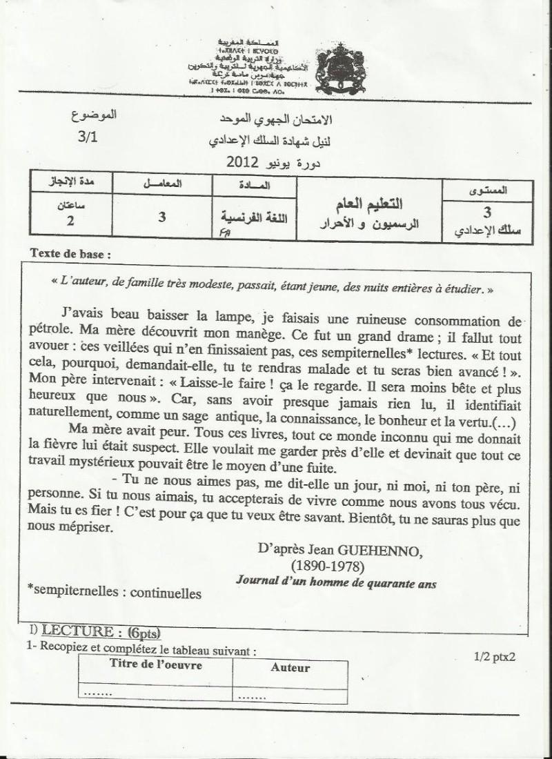 الامتحان الجهوي الموحد في مادة الفرنسية لنيل شهادة السلك الاعدادي يونيو 2012 (جهة سوس ماسة درعة)  F_110
