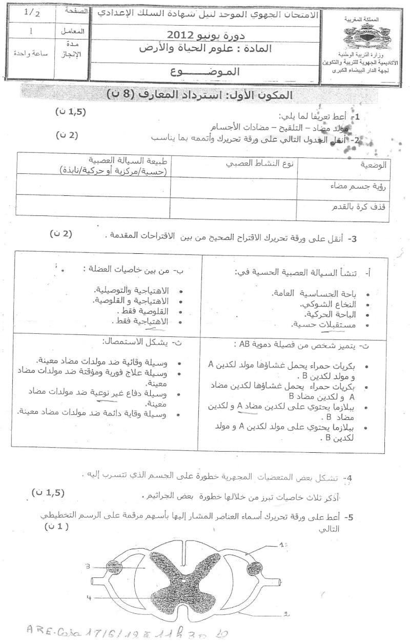 الامتحان الجهوي الموحد في علوم الحياة والأرض لنيل شهادة السلك الاعدادي يونيو 2012 (جهة الدارالبيضاء الكبرى)  Ouuu_o10