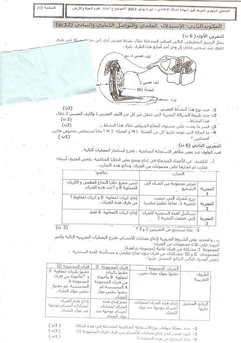 الامتحان الجهوي الموحد في علوم الحياة والأرض لنيل شهادة السلك الاعدادي يونيو 2012 (جهة الدارالبيضاء الكبرى)  Ouuu_o11