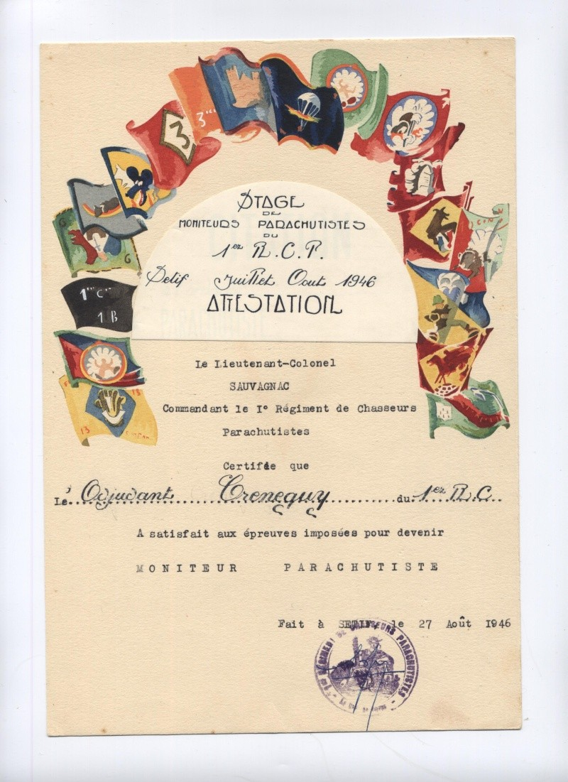 Photos et Docs BATAILLON DE CHOC (Crénéguy Frédéric) Attest10