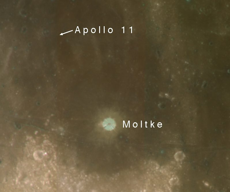 Clementine USGS Color Image with Apollo 11 Landing Site & Moltke Crater Ap11n710