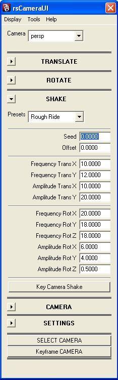 Camera Controller / Shaker Maker 0.2.5 Free Maya plugin Frm00010