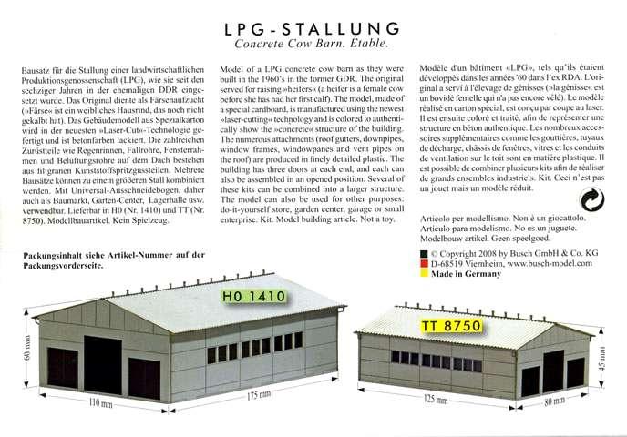 Abmessungen der Betonelemente der Busch LPG-Stallung 08750_10