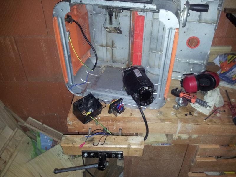 Branchement moteur / bouton marche/Arret sur scie sur table (Feider aujourd'hui feidwood) 2012-010