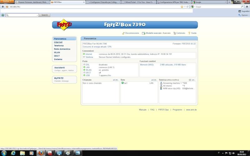 """informazioni su 7390 con internet key """"chiavetta"""" Panora10"""
