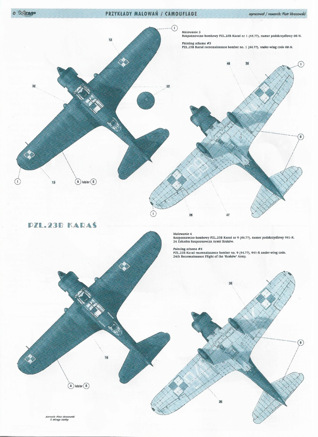 "Fil rouge 2020 , PZL P-23B Karas ""1939 Campaign"" (Mirage Hobby 1/48) 1122"