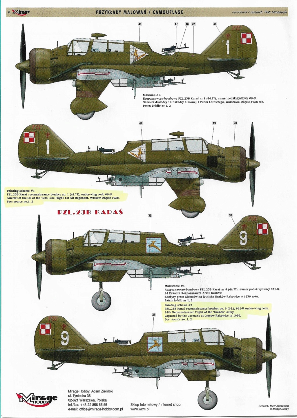 "Fil rouge 2020 , PZL P-23B Karas ""1939 Campaign"" (Mirage Hobby 1/48) 1222"
