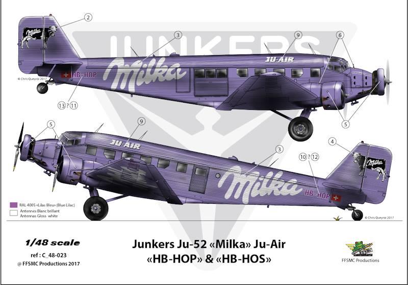 "Junkers Ju-52 ""Milka"" ( Italeri plus  décals Karaya et FFSMC au 1/72 )  17903810"