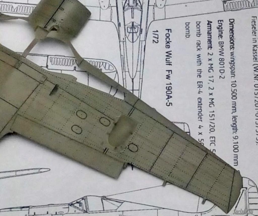"""FW 190 A-5 codé D5 + XV du 10/NJG-3 """"Nachtjagdkommando 190"""" (Eduard 1/48) M0441"""