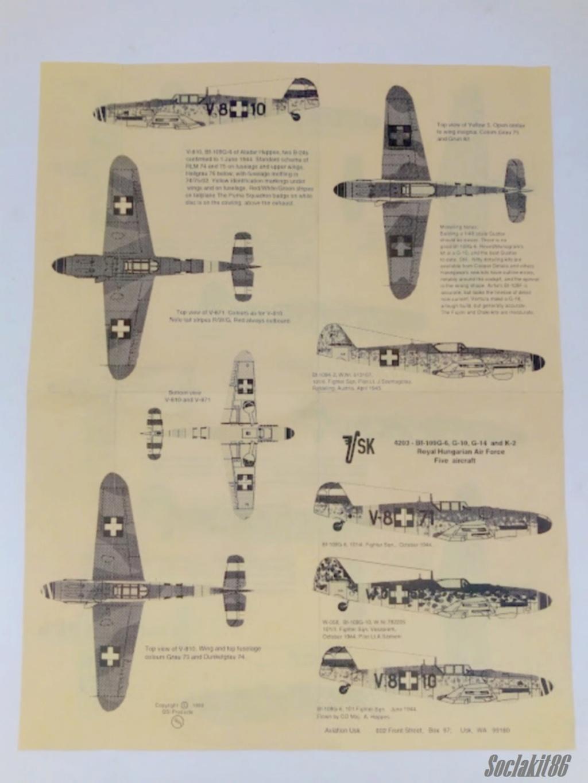Bf 109 G-6 Hongrois V-8+71 du l'escadron de chasse 4/101 ( Octobre 1944) Hasegawa 1/48 +Décals Aviation USK R0610