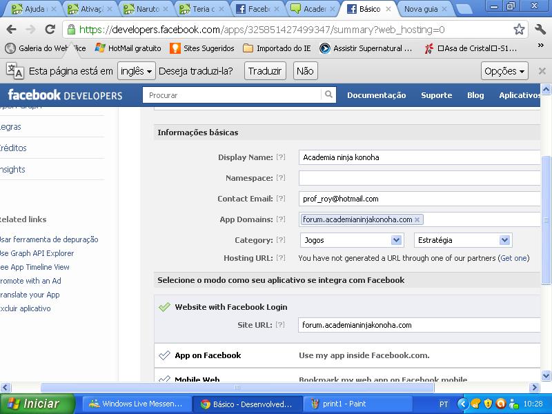 Erro ao conectar com facebook Print211