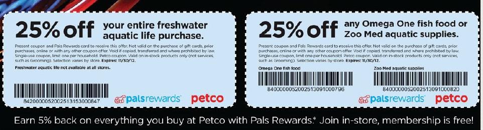 petco coupon 25% off freshwater aquatic life & omega one fish food or zoo med aquatic supplies expires 11/30/2012 Petco10