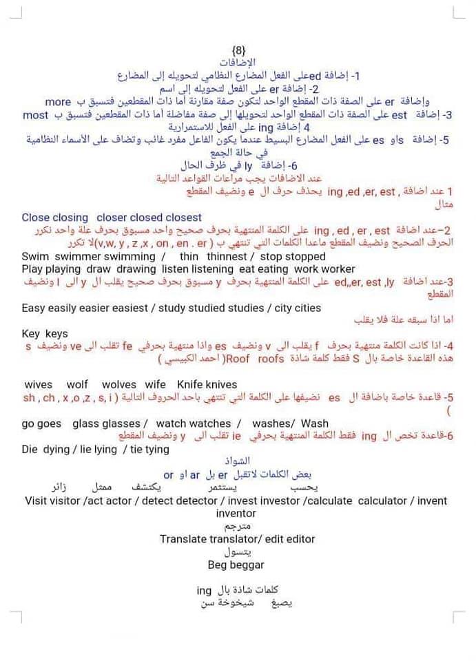 40 درجة سهلة وبالمتناول  السادس الإبتدائي  في اللغة الإنكليزية 0217