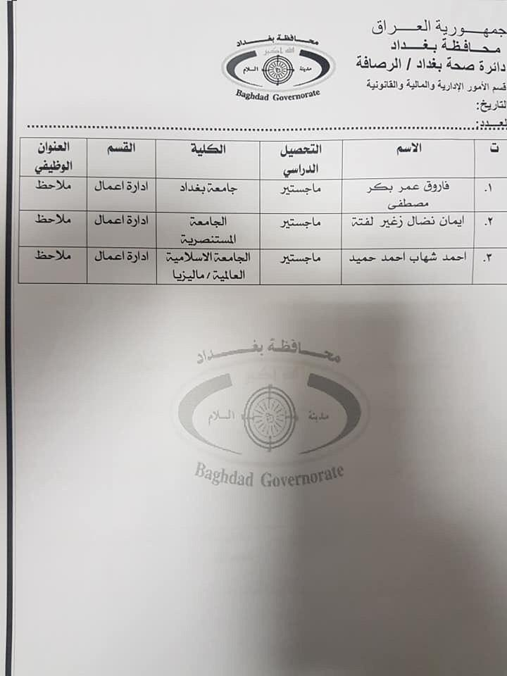 عااجل أسماء المقبولين بتعيينات دائرة الصحة بغداد (الوجبة الثالثة) 2020 1042