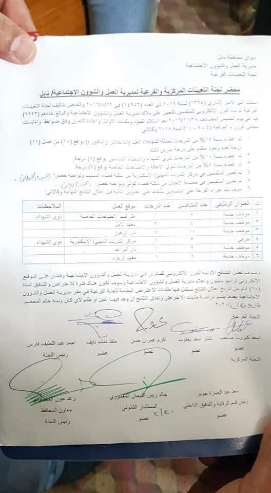 نتائج مديرية العمل والشؤون الاجتماعية 2020 محافظة بابل 1158