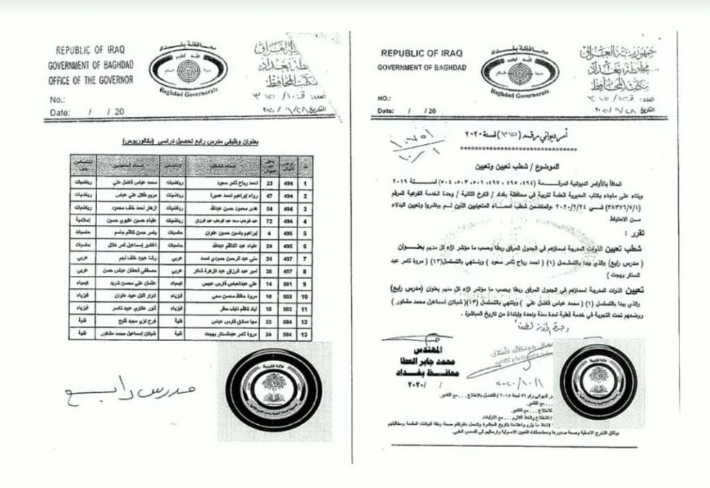 تعيينات تربية الكرخ الثانية اسماء الاحتياط بدلا ممن لم يباشروا 1176