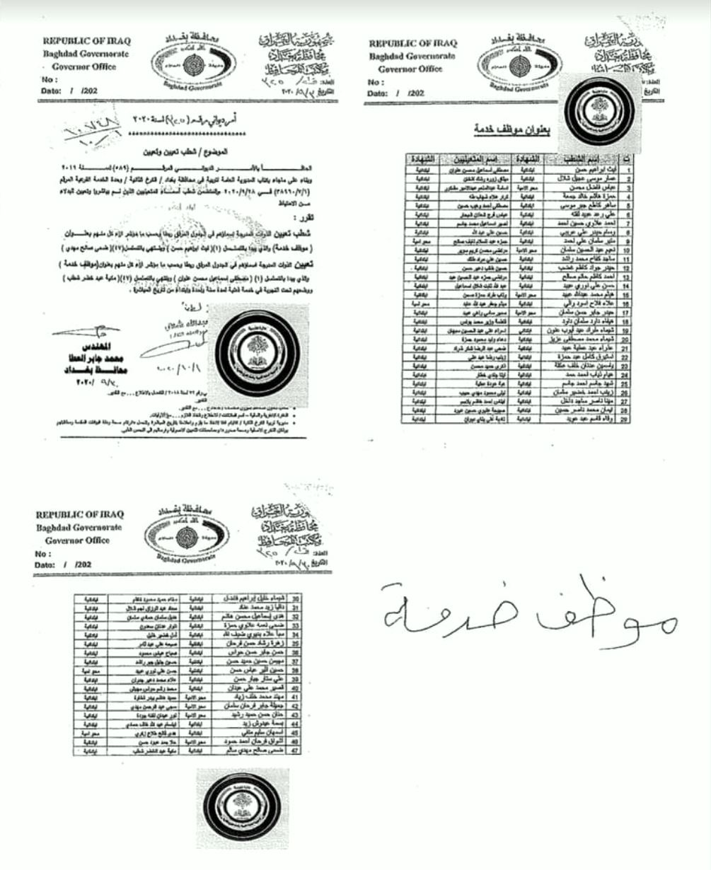 تعيينات تربية الكرخ الثانية اسماء الاحتياط بدلا ممن لم يباشروا 1177