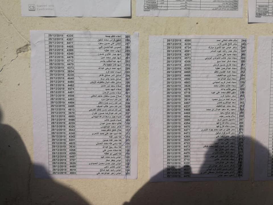 اسماء المقبولين في تعيينات مكتب رئيس الوزراء في العلاوي على وزارة الدفاع 1230