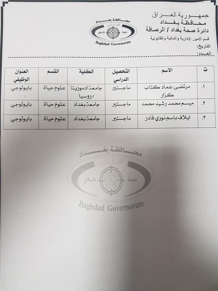 عااجل أسماء المقبولين بتعيينات دائرة الصحة بغداد (الوجبة الثانية) 2020 1232