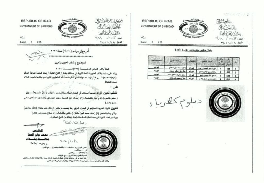 تعيينات تربية الكرخ الثانية اسماء الاحتياط بدلا ممن لم يباشروا 1236