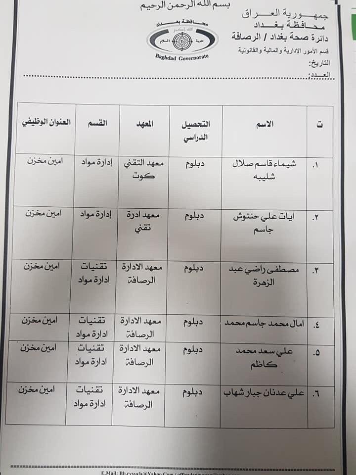 عااجل أسماء المقبولين بتعيينات دائرة الصحة بغداد (الوجبة الثالثة) 2020 1331