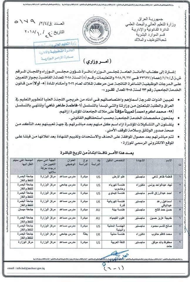 عاجل :: تعيينات بوزارة التعليم العالي لحاملي الشهادات 137
