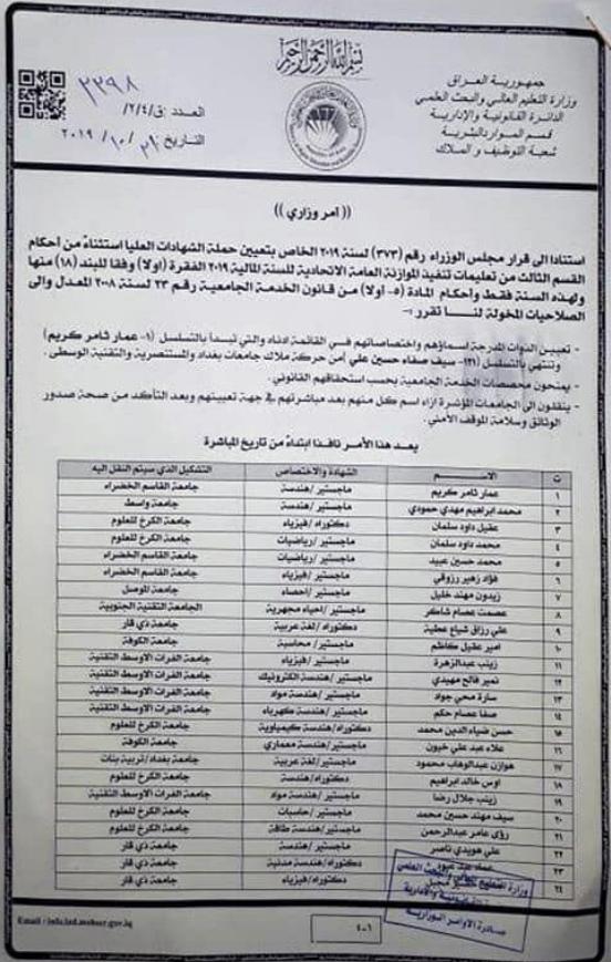 121 اسم ضمن تعيينات وزارة التعليم العالي والبحث العلمي 2020 للمعتصمين 158
