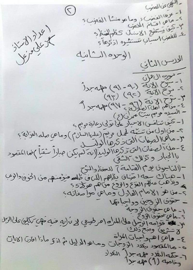 مرشحات مهمه جدا للتربية الاسلامية للصف السادس الاعدادي 2018 211