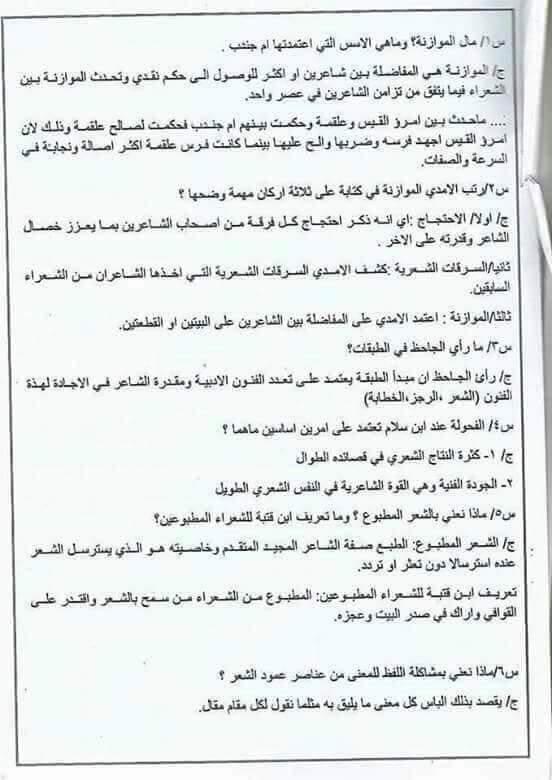 مرشحات اللغة العربية للسادس اعدادي 2018 217