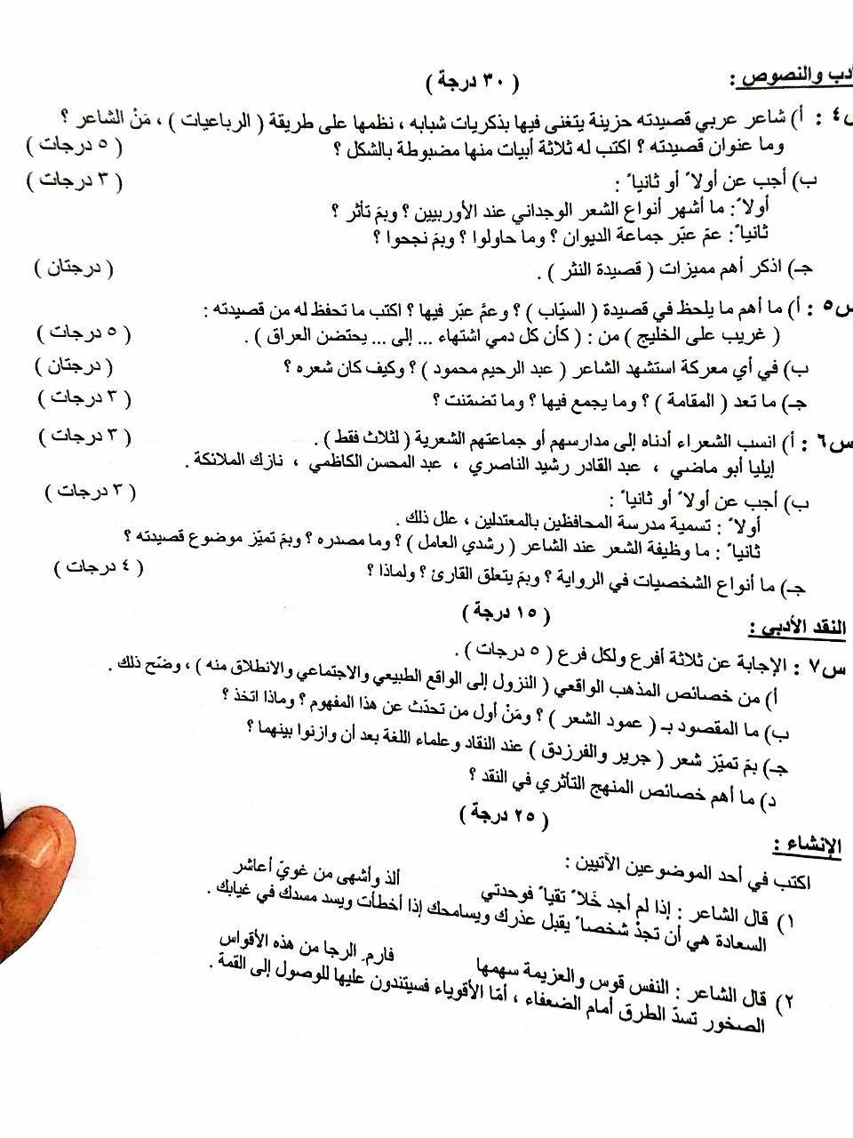 الاسئلة لوزارية اللغة العربية الفرع الادبي 2018  الدور الاول  219