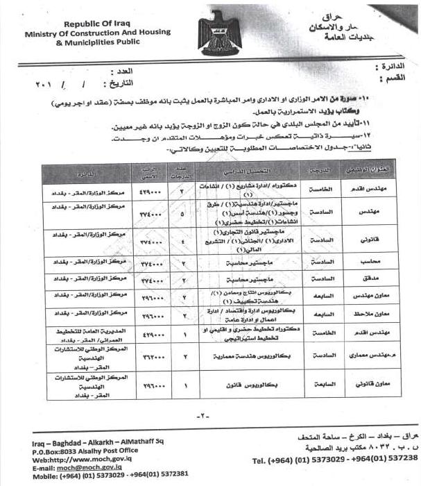 درجات وظيفية في وزارة الاعمار والاسكان والبلديات العامة 220