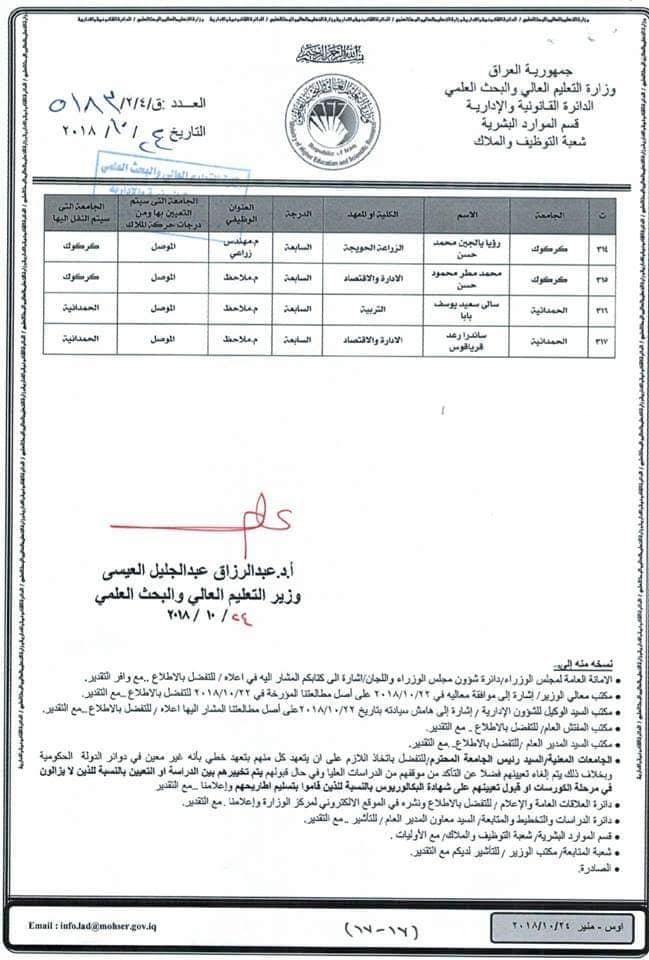 عاجل :: تعيينات بوزارة التعليم العالي لحاملي الشهادات 2311