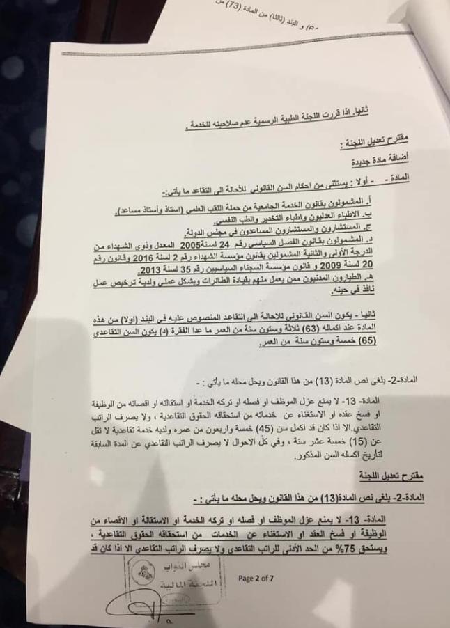 النص الكامل لتنفيذ قانون التقاعد الموحد المصوت عليه من مجلس النواب العراقي 274
