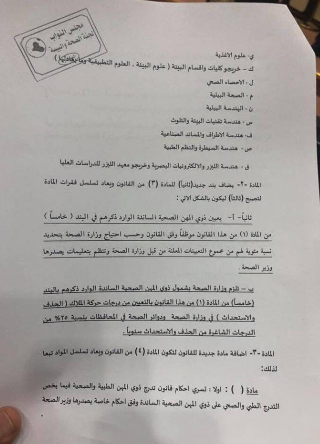 مجلس النواب العراقي يصوت على التعديل الثالث لقانون تدرج ذوي المهن الطبية 278