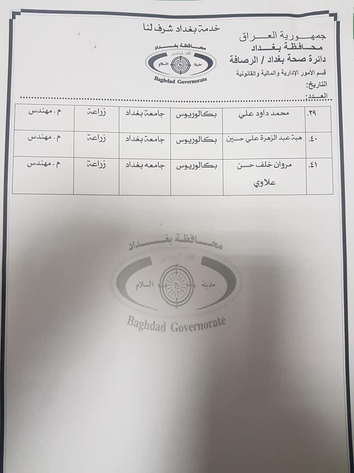 عااجل أسماء المقبولين بتعيينات دائرة الصحة بغداد (الوجبة الثانية) 2020 3100