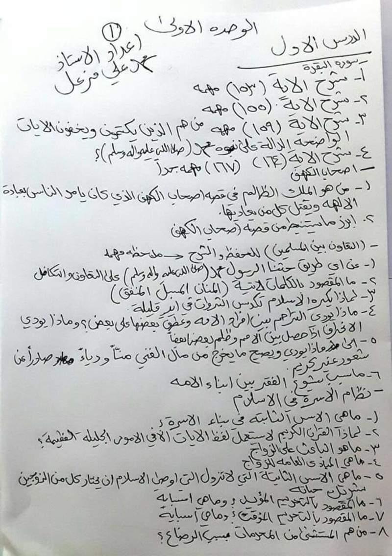 مرشحات مهمه جدا للتربية الاسلامية للصف السادس الاعدادي 2018 311