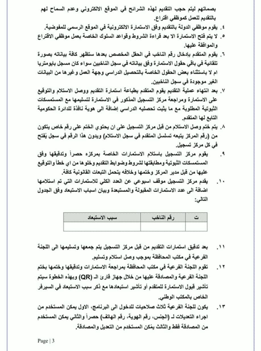 تعليمات عمل مفوضية الانتخابات 2021 مع موظف الاقتراع 3122